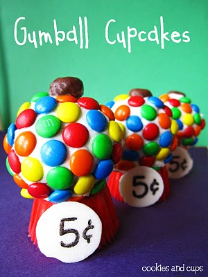 Three Gumball Cupcakes lined up