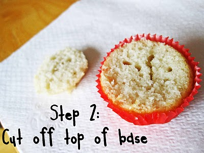 A cupcake with the top cut off showing Step 2