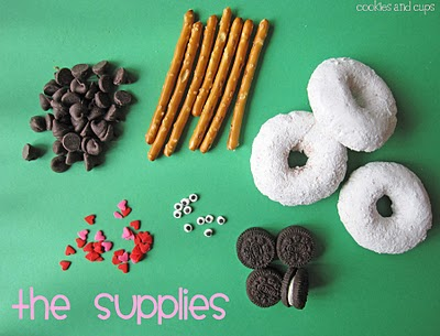 Mini Powdered Donuts, Pretzel Sticks, Chocolate Chips and the Rest of the Sheep Cupcake Topper Items