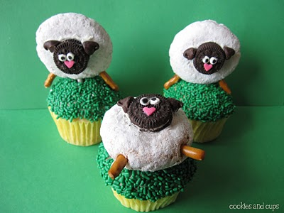 Three Easter Cupcakes with Donut Sheep on Top