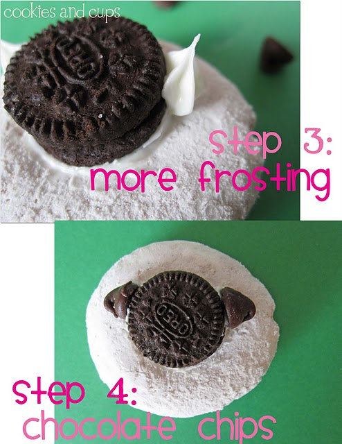 A Collage Showing the Process of Sticking on Chocolate Chip Ears with Icing Acting as a Glue
