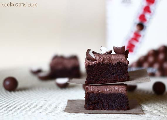 Milk Chocolate Whopper Brownies - Cookies and Cups