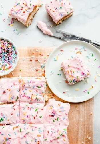 Cake Batter Blondies topped with frosting and sprinkles