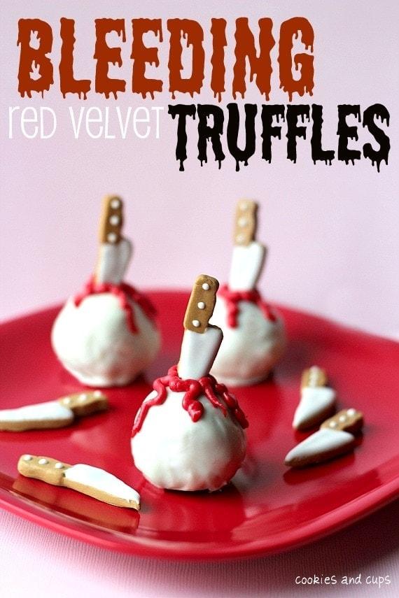 Bleeding Red Velvet Truffles with edible decorative knives