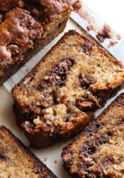 A slice of peanut butter banana bread from the top