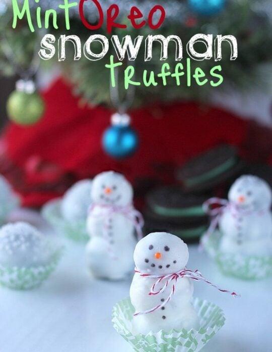 Mint Oreo Snowman Truffles