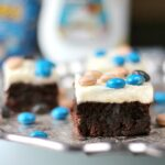 Close-up of Coconut Cream Cheese Brownies on a tray