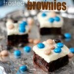 Coconut Cream Cheese Frosted Brownies on a tray