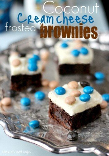 Tray of coconut cream cheese frosted brownies
