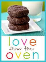 Love from the Oven text with 3 chocolate cookies stacked on a plate