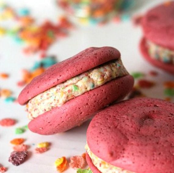 FRuity Pebble Whoopie Pies! Made with soft, Pink Velvet cake!