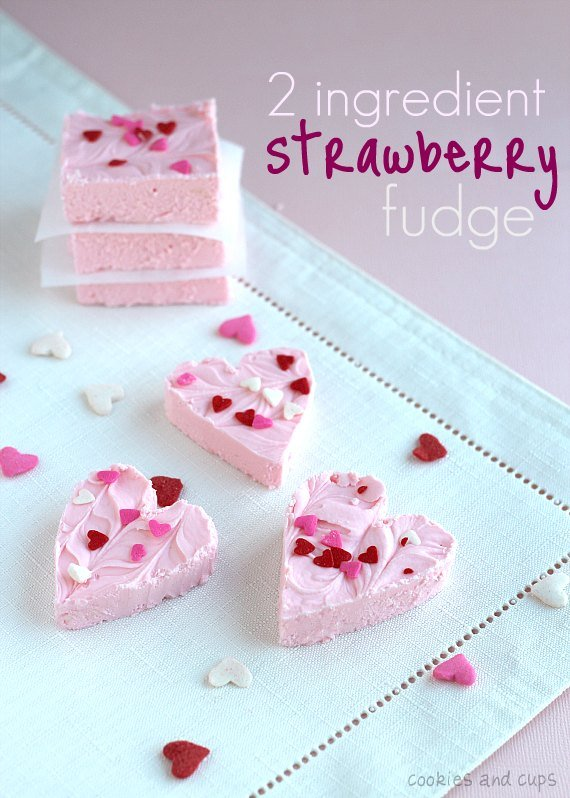 Strawberry 2 ingredient fudge