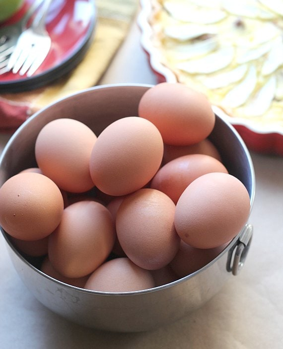 A bowl of brown eggs