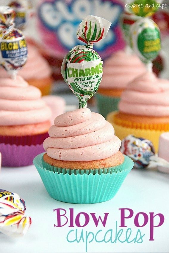 Blow Pop Cupcakes with a Blow Pop Topper