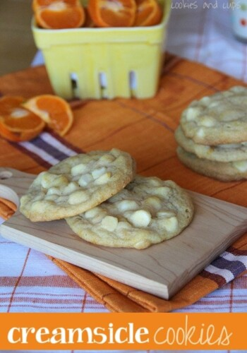 Image of orange creamsicle cookies with white chocolate chips