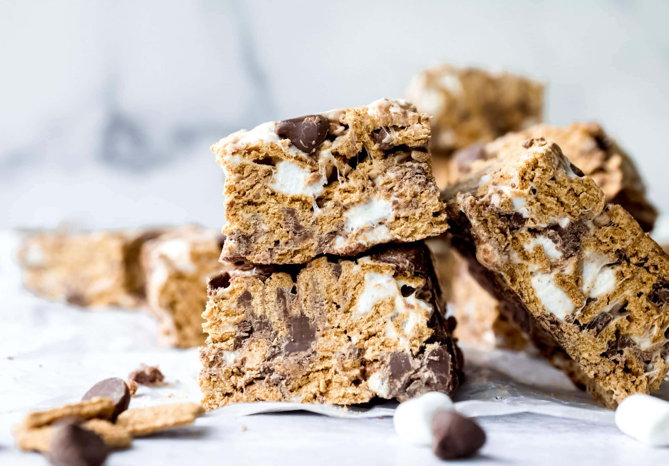 No Bake Golden Graham S'mores Bars stacked