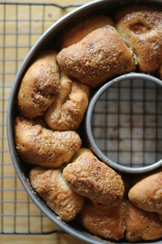 Cinnamon Roll Monkey Bread with Cream Cheese baked to golden perfection in a bundt pan