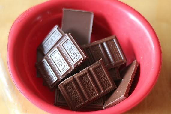 Pieces of Hershey's chocolate bar in a red bowl