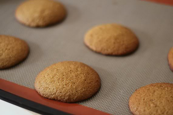 Baked graham cracker whoopie pie cakes on a baking mat