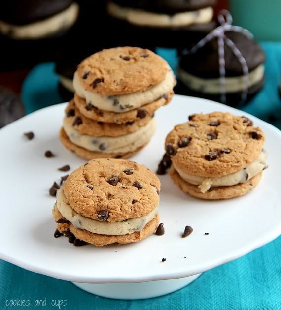 Chocolate chip cookie whoopie pies with chocolate chip cookie dough filling on a plate