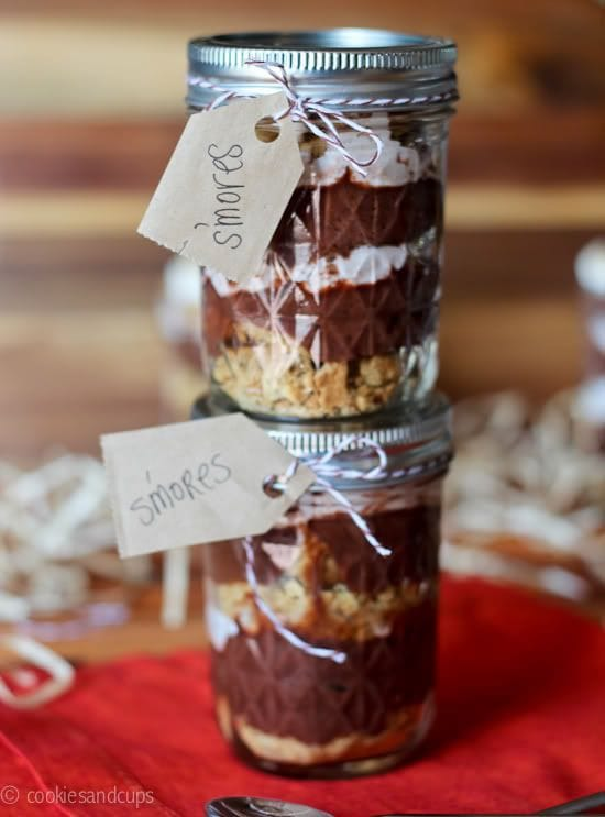 Two stacked jars of S'mores parfait