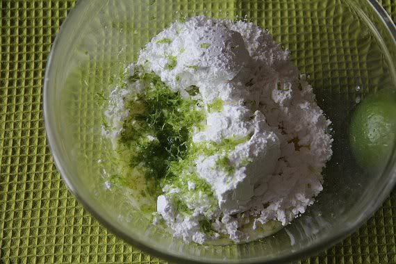 Ingredients for lime glaze in a mixing bowl