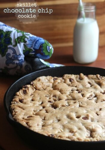A Freshly Baked Skillet Chocolate Chip Cookie