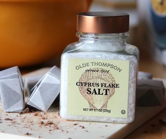 A clear jar of Cyprus Flake Salt