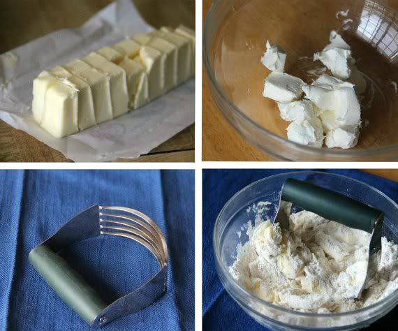 A collage of four photos showing how to cut butter into a dry mixture with a pastry blender