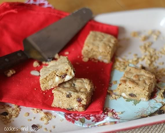 White Chocolate Chip Granola Blondies on a Serving Tray