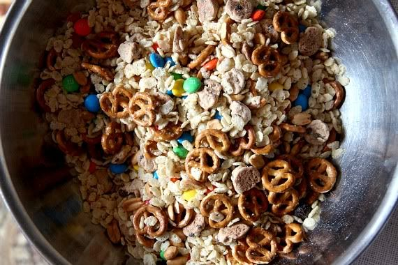 Trail mix krispie treats dry ingredients in a bowl