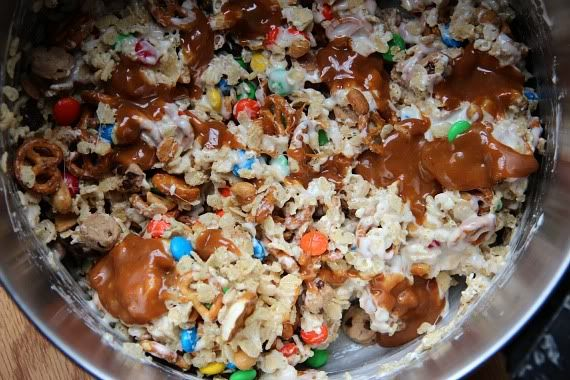 Trail Mix Krispie treats mixture topped with salted caramel sauce