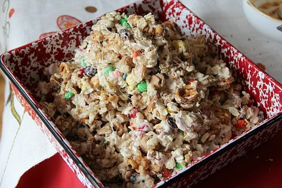 Trail Mix Krispie treats mixture in a square pan