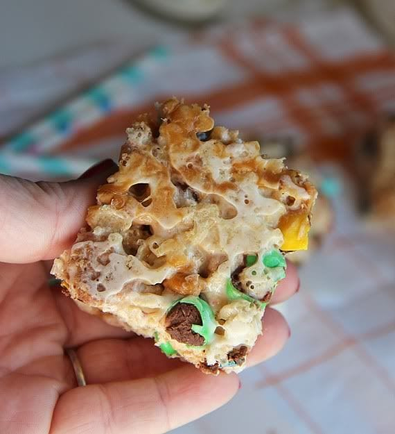 A trail mix krispie treat bar with salted caramel swirl