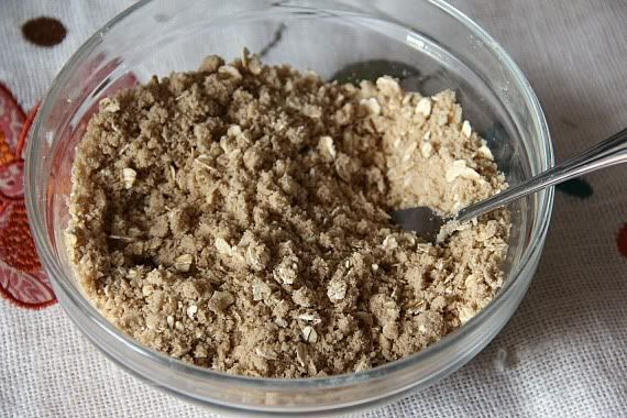 Oat crumb topping mixture in a mixing bowl