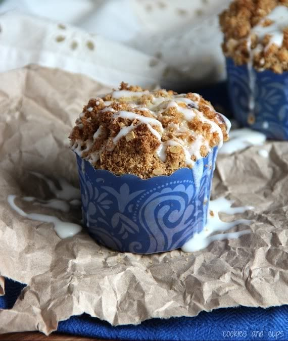 Gooey cinnamon muffin with icing