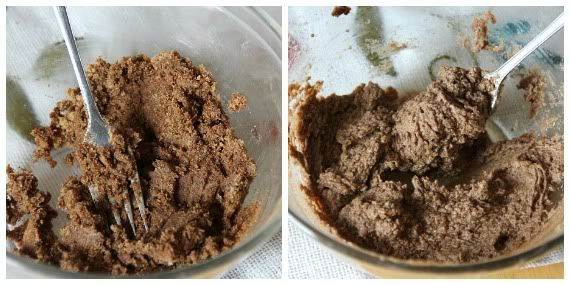 A collage of two images of cinnamon, brown sugar, butter mixture in a bowl