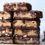 Buckeye brownies are an easy brownie recipe filled with creamy peanut butter.