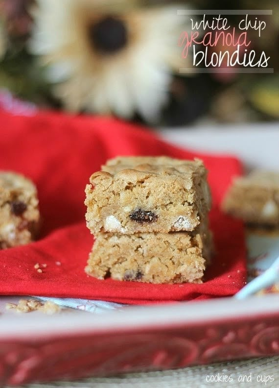 Two White Chocolate Chip Granola Blondies on a Plate