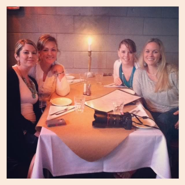 Four women seated at a restaurant table