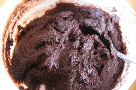 Top view of brownie batter in a mixing bowl