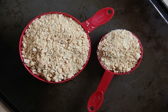 Two measuring scoops of crushed golden oreo cookies