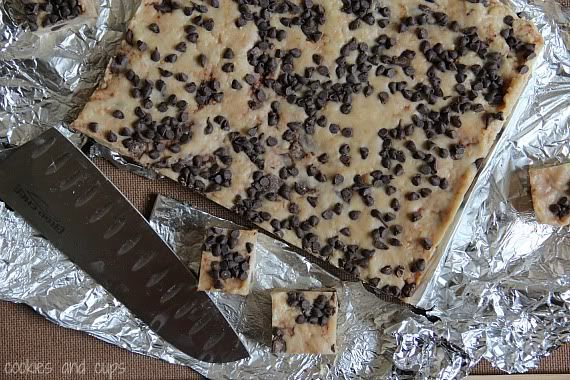 No bake cookie bars with chocolate chips on foil