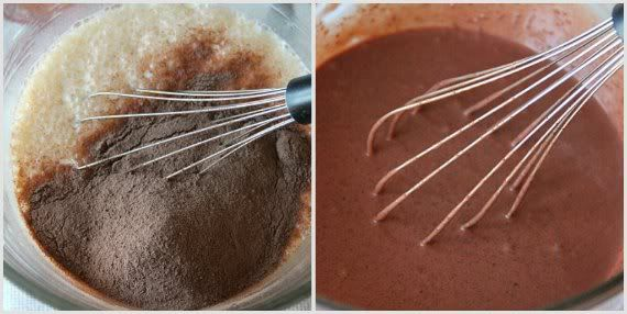 A collage of two photos of chocolate mixture being whisked in a bowl