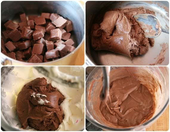 A collage of four photos of 3 Musketeers brownie batter