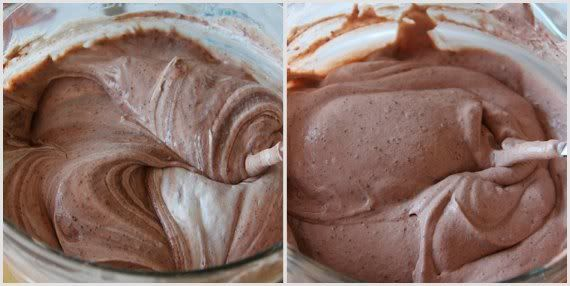 A collage of two photos of thickened chocolate mixture in a mixing bowl