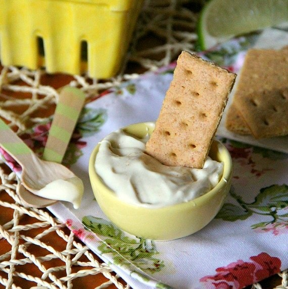 Image of Key Lime Pie Dip on a Graham Cracker