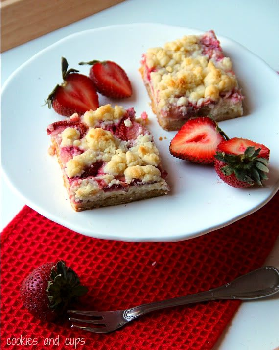 Image of Strawberries and Cream Bars on a Plate