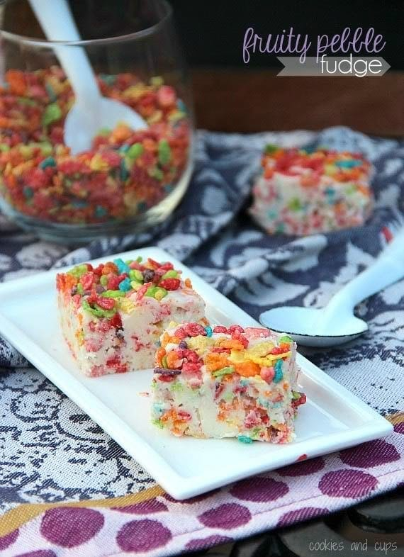 Plate with two pieces of fruity pebbles fudge