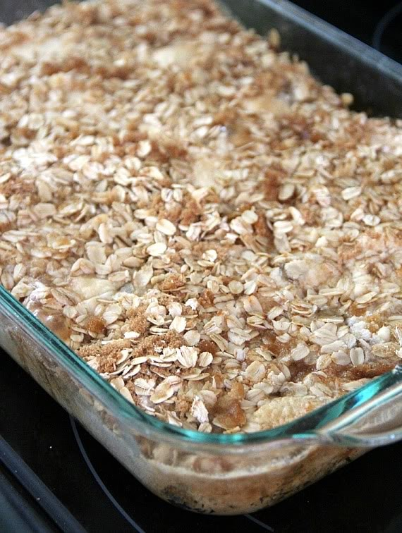 Oat crumble topped apple pie dump cake in a baking dish
